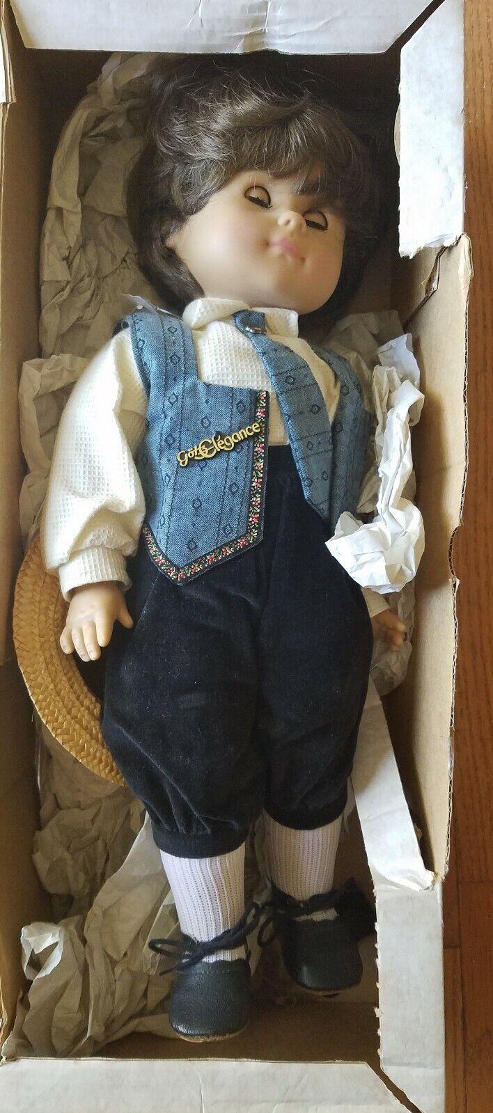 Gotz elegancia muñeca niño con sombrero de paja en Caja Original Excelente Estado