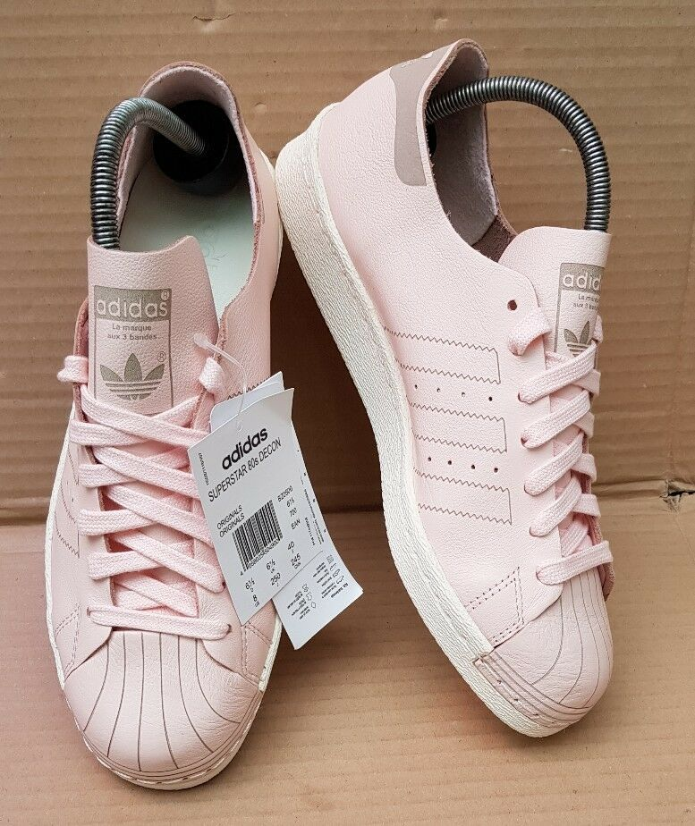 BNIB GORGEOUS ADIDAS ADIDAS ADIDAS SUPERSTAR 80's DECON PINK TRAINERS SIZE 6.5 UK RARE NEW 358239