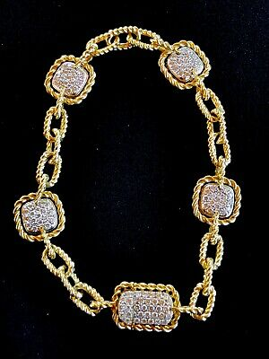 Precious Metal Without Stones Jewelry & Watches Persevering Roberto Coin 18k Yellow Gold New Barocco Square Pave Station Bracelet Beneficial To Essential Medulla
