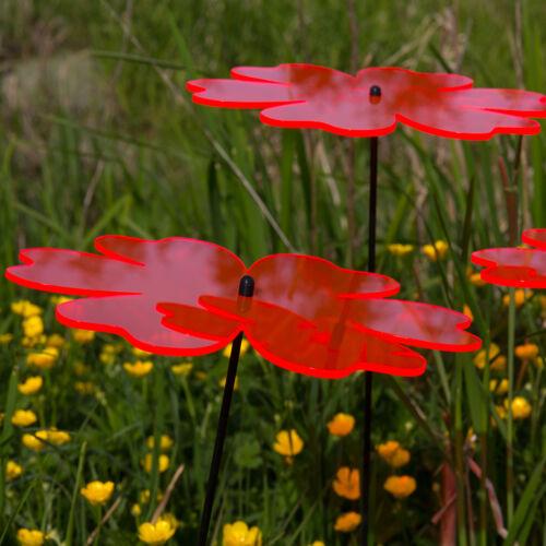 Gartenstecker Butterblume ROT 3 Stück SUNPLAY Sonnenfänger Ø20cm Suncatcher