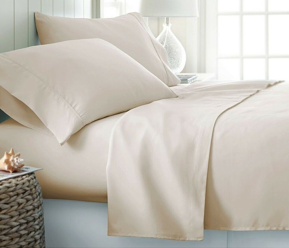 Ivory Solid  Luxury Bedding Item 100% Cotton 15 inch Drop 600 TC All USA Size