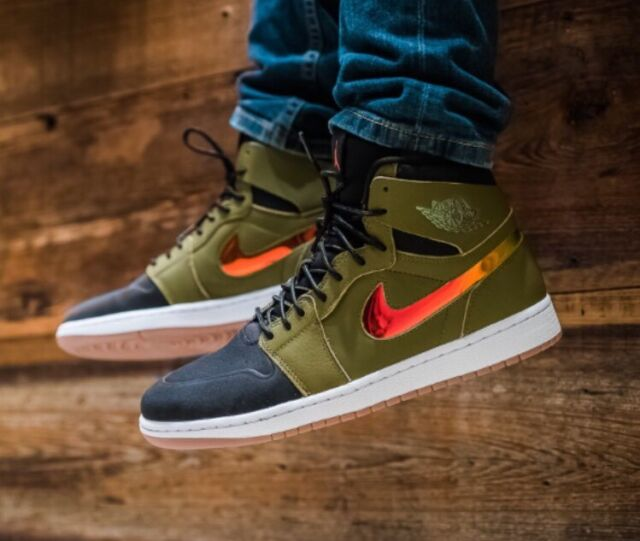 f744c183745 Nike Air Jordan 1 Retro High NOUV Olive Green Black White Gum MultiColor  11.5