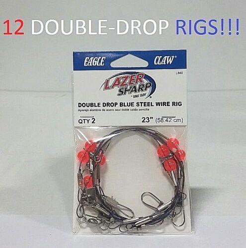 "L840 EB140202 12 Lazer Sharp 23/"" Double Drop Blue Steel Wire Rigs"