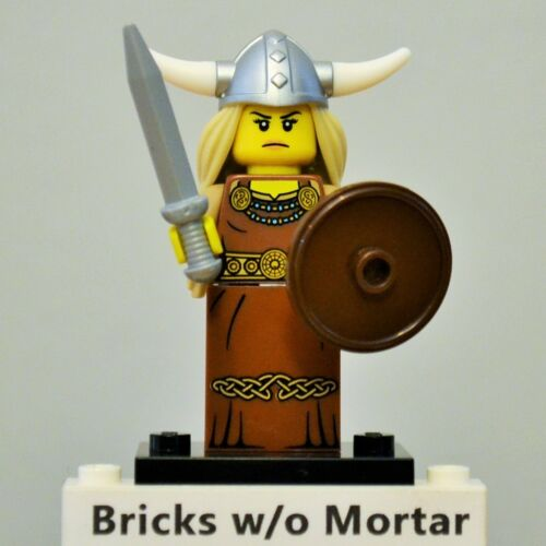New Genuine LEGO Viking Woman Minifig with Sword and Shield Series 7 8831