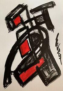 SEVARD Abstrakte Komposition Gemälde Zeichnung A4 Original Signiert Unikat N405