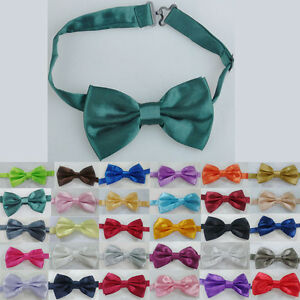 New-Tuxedo-Classic-Bowtie-Solid-Color-Neckwear-Adjustable-Men-039-s-Bow-Tie