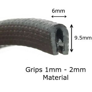 Large Black Universal Boot Door Seal Trim 29.5mm X 16.5mm