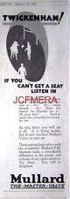 MULLARD Radio Valves; 1928 Advert Twickenham Rugby - Original Art Deco Print AD.