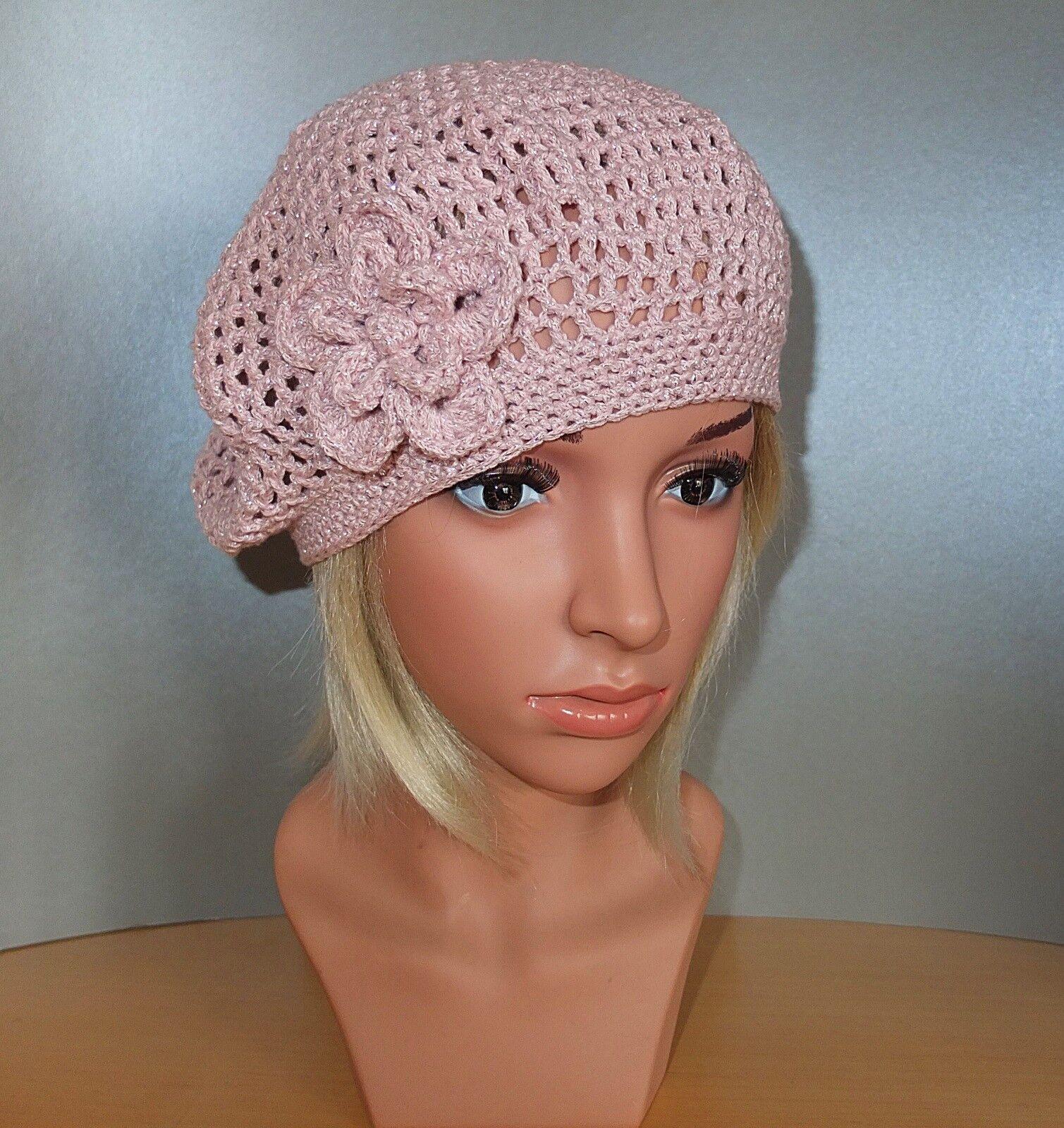 Ausgefallene romantische Häkelmütze Barett Baskenmütze denim Rosa silber Blaume | Starke Hitze- und Hitzebeständigkeit  | Garantiere Qualität und Quantität  | Ich kann es nicht ablegen