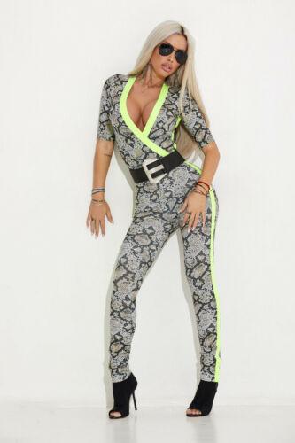 By Alina Mexton Damen Overall Jumpsuit Hosenanzug Catsuit Damenoverall Neon XS-M