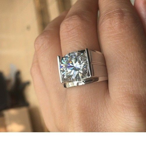 3.50 cts Near White Moissanite Mens Ring 14k White Gold Finish Sterling Silver