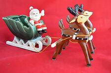 Vintage Napco Santa Sleigh Reindeer Reigns Ceramic Figurine Stickers
