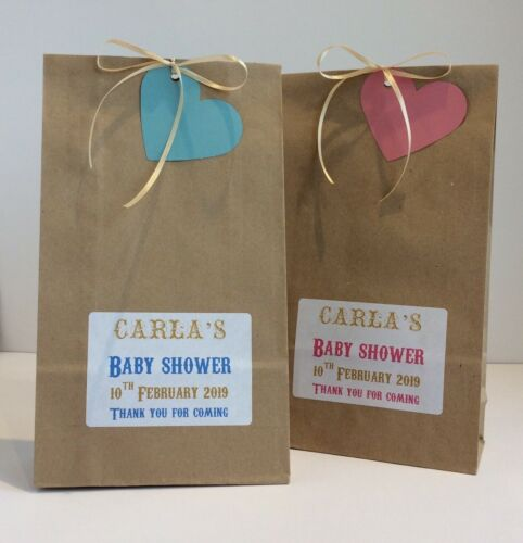 12 x personalised baby shower TREAT wedding gift Bags favour paper silver gold