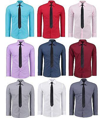 Herren Slim Fit Hemd mit Krawatte Business Hochzeit Freizeit Bügelleicht 12205K