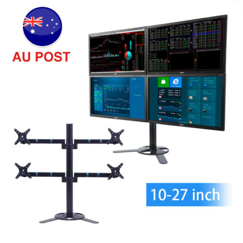 "4 Arms LCD LED Mount Bracket Swivel Adjustable TV Display Stand 10""27"" Monitor"