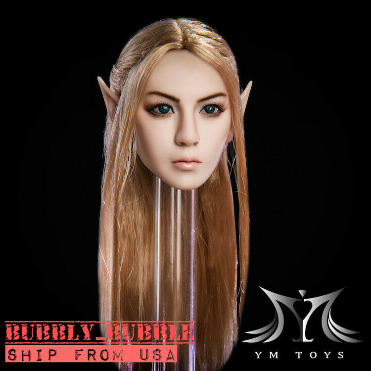 1 6 Fairy Female Head Sculpt Detachable Ears PALE For 12  PHICEN Figure  USA