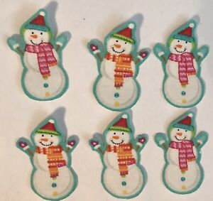 Itty-Bitty-Christmas-Snowman-Faces-Iron-On-Fabric-Appliques-Holiday