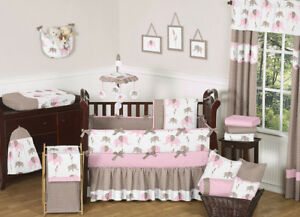 Image Is Loading Sweet Jojo Designs Modern Pink Brown Elephant Baby