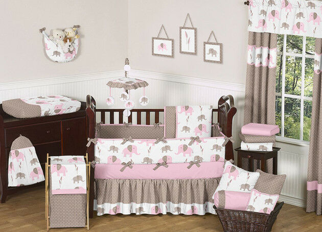 Sweet Jojo Designs Modern Pink And Brown Mod Elephant Baby Bedding 9pc Crib Ebay