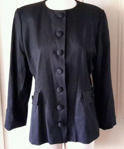 Sports 10 Collarless Stephin Womens Black Blazer Jacket Wool Usa 86152 12 100 H05xwFq