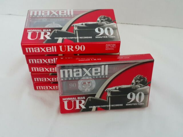 6 New Maxell UR 90 Minute Type 1 Normal Bias Blank Cassette Tapes NIP