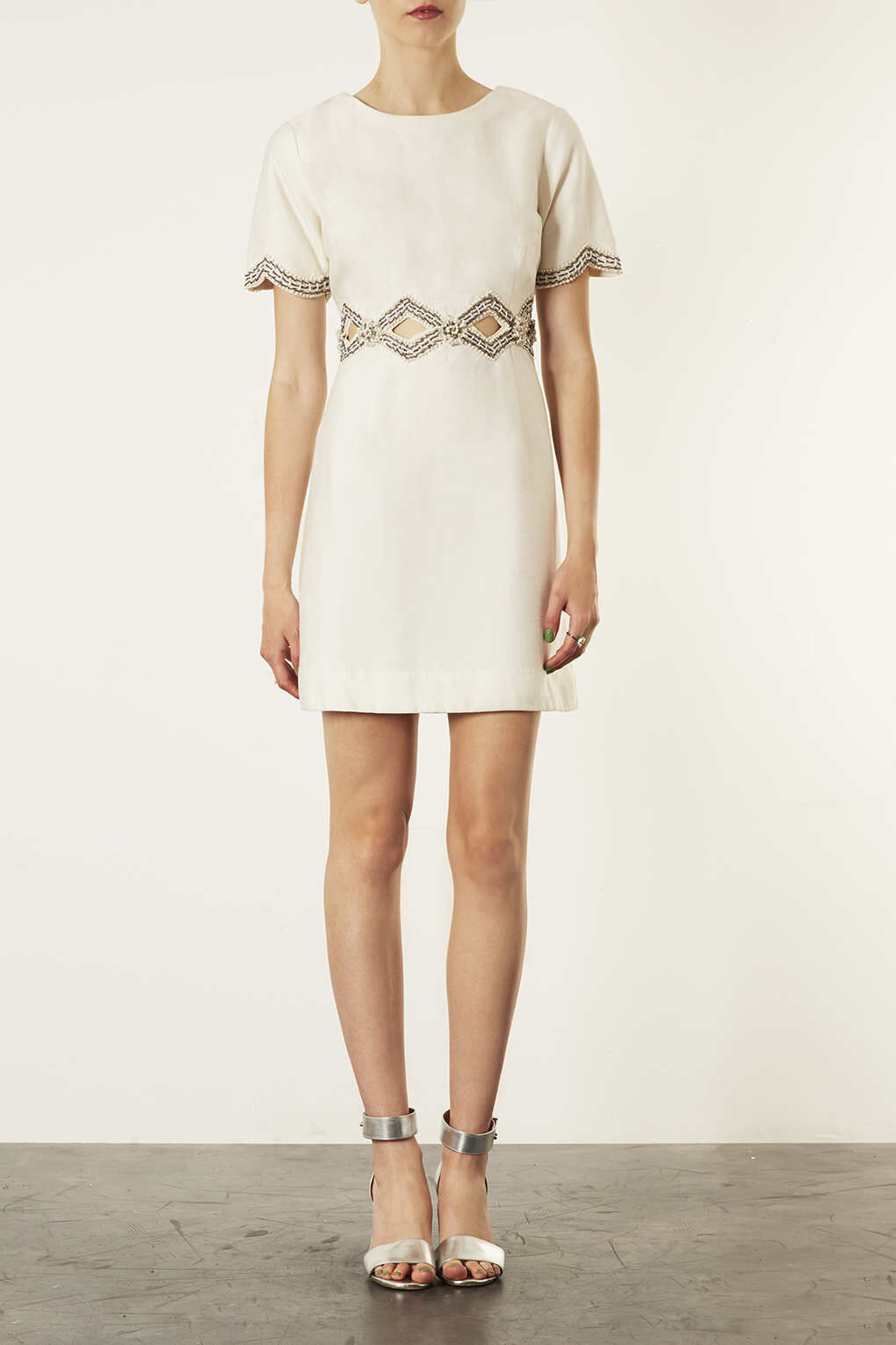 TOPSHOP LIMITED EDITION CREAM CUT OUT EMBELLISHED 60S SHIFT DRESS 14 42 10