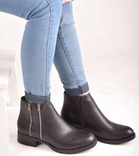 Ladies Women Block Low Heel Ankle Boots Zip Casual Walking Black Shoes Size UK 3