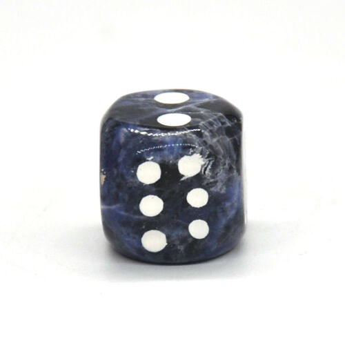 D6 Dice Pair Blue Sodalite Gemstone Unique 6 sided Hand Carved Stone w Pouch