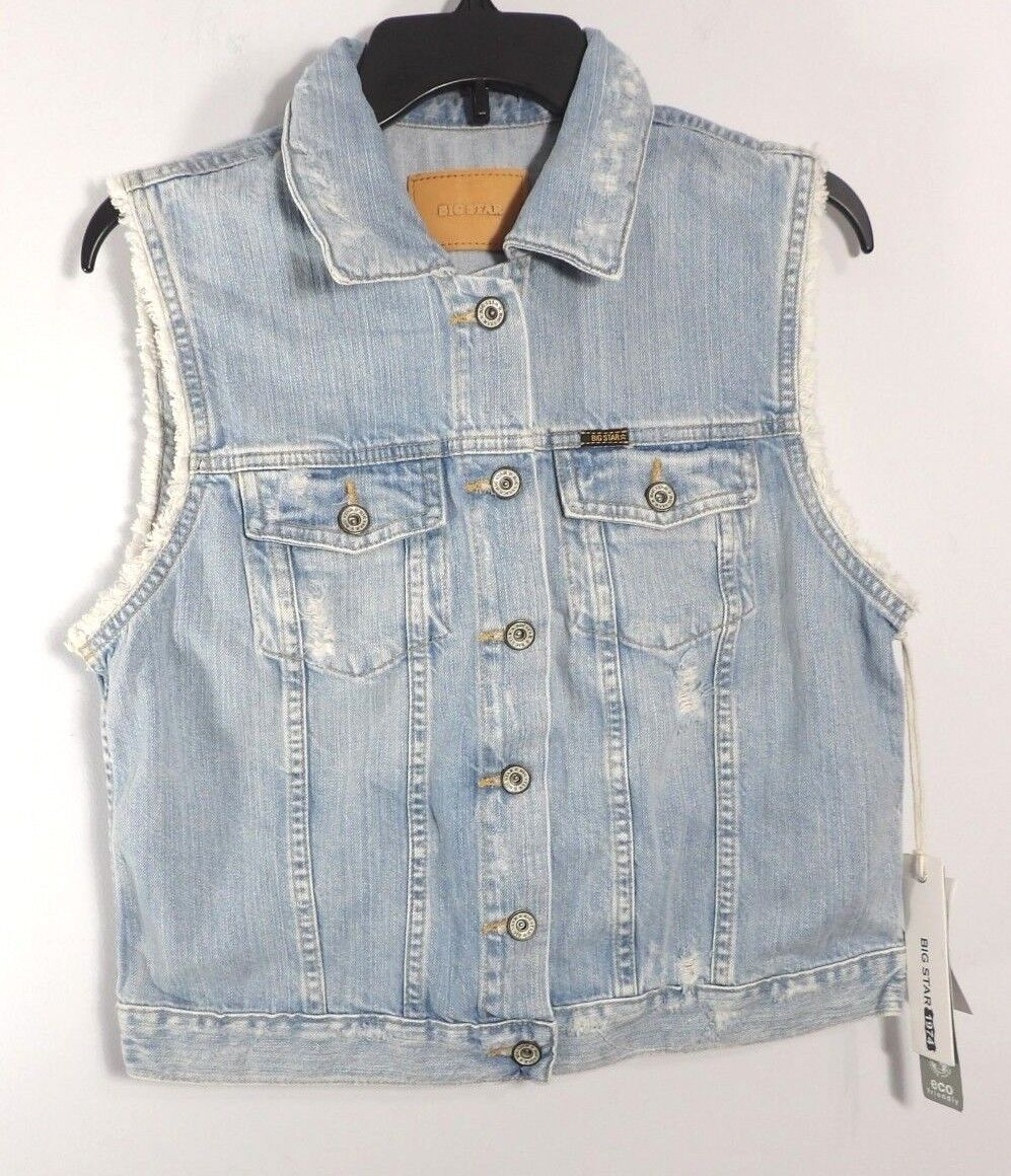 NWT Big Star Hampton bluee Distressed Denim Vest Size XL    P1008