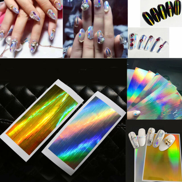 Diy Holographic Strip Tape Nail Art Stickers Holo Silver Stripe Line