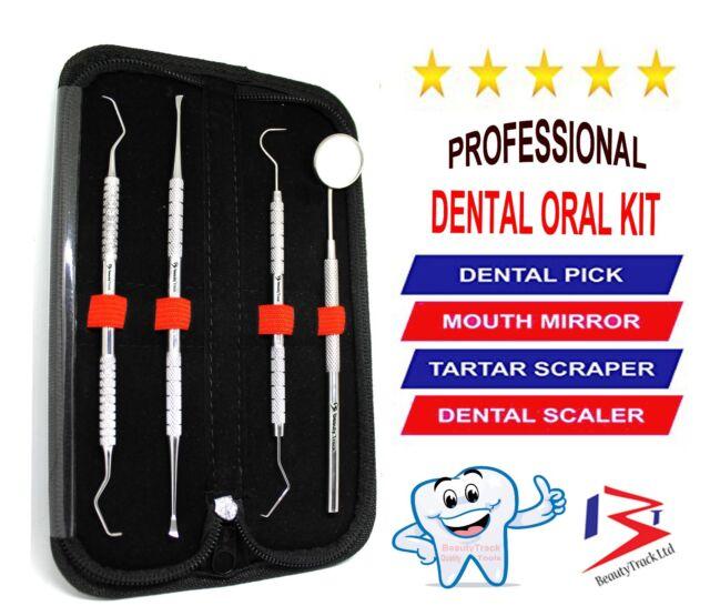 New Dental Tartar Calculus Plaque Remover Tooth Scraper Set Dental Mirror Scaler