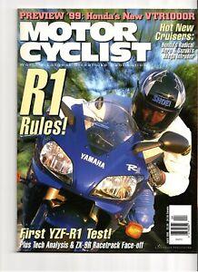 Motorcyclist Magazine April 1998 Honda VTR1000R Yamaha R1