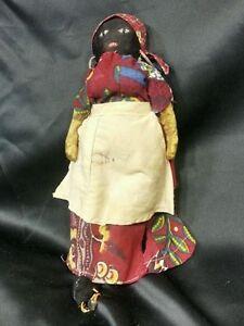 1800 S Antique Folk Art Black Americana Stockinette Rag