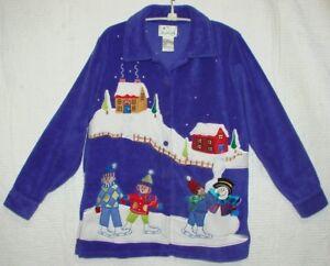 Quacker-Factory-Purple-Fleece-Button-Down-Jacket-Coat-Size-XS-Winter-Scene