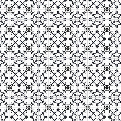 1:12th Negro styalised Flor de baldosas de con gris pálido lechada