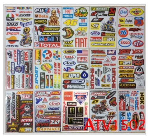 Set 15 sheet of ATV CAR HELMET MOTO-GP SCOOTER BIKE RACING RC Stickers# ATV2CA