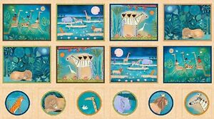 Pre-cut-Fabric-Panel-Julia-Cairns-The-Migration-African-Animal-Picture-Patches
