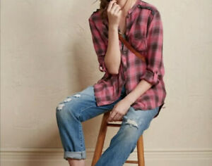 Small-MATILDA-JANE-Pink-Parker-Plaid-Roll-Sleeve-Button-Down-Shirt-Top