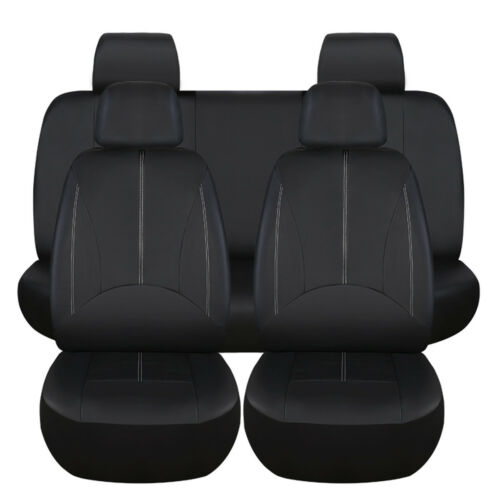 9 Pack PU Leather Car Seat Cover Full Set Front Rear Seat Cushion Mat Protector