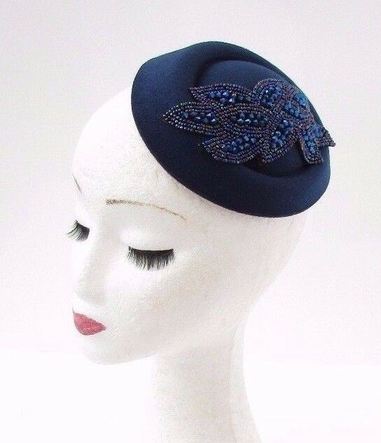 Navy Royal Blue Pillbox Hat Hair Fascinator Races Statement Cocktail Vtg  3070 for sale online  fcf29ae815b