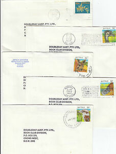 Stamps Australia with VG perfin x 12 on matching Doudleday covers some uprated
