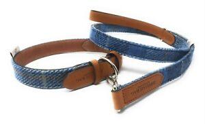 Collier Collier De Chien Harris Tweed Et Cuir Moyen En Tartan Bleu