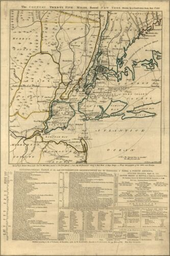 Poster, Many Sizes; Map Of Twenty Five Miles Round New York City 1776