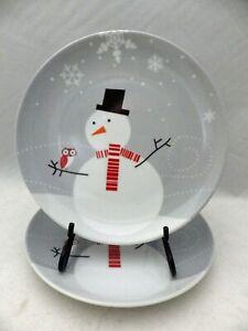 Rachael-Ray-set-lot-of-2-Little-Hoot-amp-Snowman-Salad-Dessert-Plates-8-034-EUC