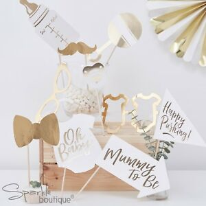 Baby Shower Photo Booth Props Metallic Gold White Gender Neutral