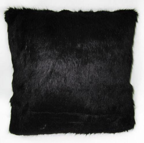 Fm853a Noir Uni Long épais en fourrure synthétique Coussin Housse//taie d/'oreiller taille personnalisée