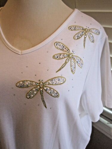 NEW QUACKER FACTORY Summer Sparkle Short Sleeve V-Neck T-Shirt Size 2XL XXL