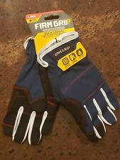 Firm Grip Heavy Duty Canvas Gloves Touch Screen Compatible Navy Blue Size Large