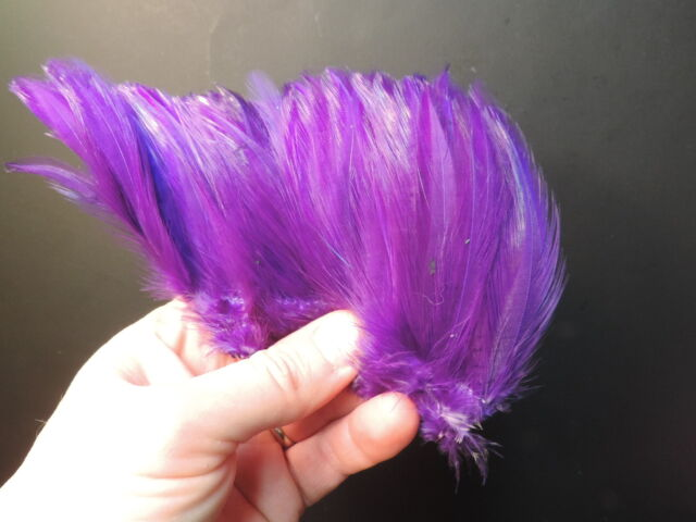 """1 Clump of  PURPLE Strung Rooster Neck Hackle,  3"""" High, SALTWATER"""