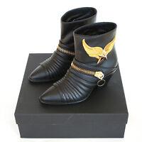 Giuseppe Zanotti $1,938 Gold Metal Winged Star Cuban Heel Zipper Boots 38.5